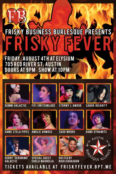 Frisky Fever Frisky Business Burlesque Austin Texas Elysium August 4th